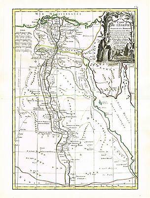 Original 1762 Map By Bonne Egypt Nile Delta Aswan Sinai & Parts Of Red Sea!