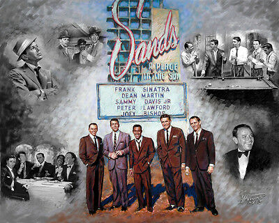 Frank Sinatra, Dean Martin, S. Davis Jr, Rat Pack Giclee Print on Canvas by Star