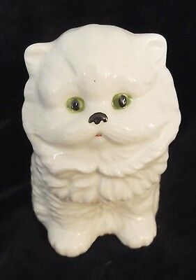 1970's Vintage ceramic cat figurine, white, green eyes, 4 1/2 in. high, [d12