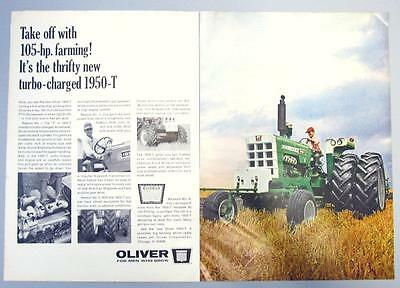 Original 2 page 1967 Oliver Tractor Ad THE THRIFTY TURBO CHARGED 1950-T