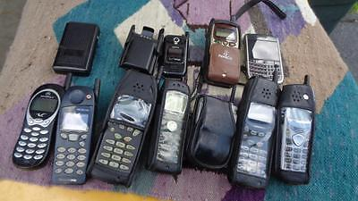 9 Vintage Cell Phones Most have Cases & 1 Pager Selling for Parts Not Tested