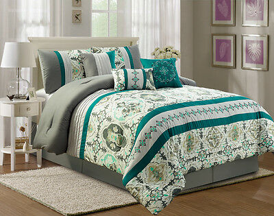 11 Piece Jacey Teal/Ivory/Gray Bed in a Bag Set