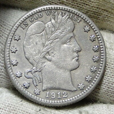 1912S Barber Quarter 25 Cents. Key Date Only 708,000 minted! Nice Coin (5959)