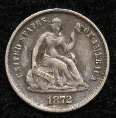 1872S Seated Liberty Half Dime H10C - Key Date Only 837,000 Minted (5358)