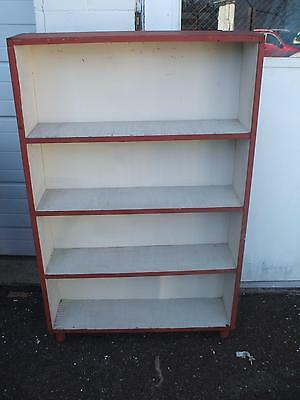 Modern White Red Distress Painted Bookcase Book Shelf Vintage