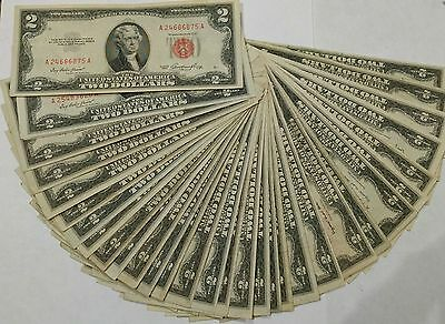 36 pcs $2 red seal US Notes series 1953,A,B,C VG-VF, no holes, tears or ink