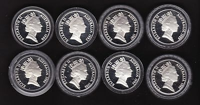 Lot Of Eight Australia $10 Silver Proof Coins 1985-1993