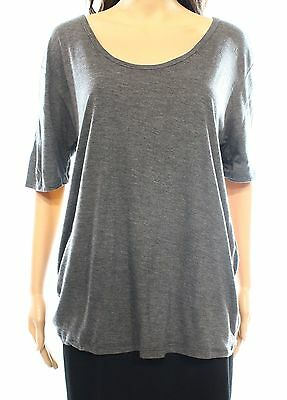 Valette NEW Gray Women's Size Small S Scoop-Neck Short Sleeve Tee T-Shirt #905