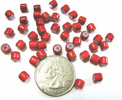 100 pcs Basic Glass Beads Red Tube 4 x 4 mm Small New