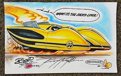 Original Cartoon Kenny Youngblood Signed Jocko-Liner Top Fuel Dragster Moon