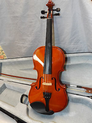 Full-Size 4/4 Polished Wood Violin with Bow and Case