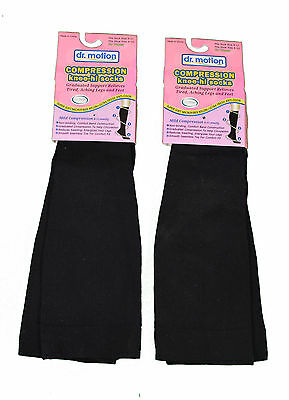 2 Pairs Dr. Motion Compression Knee-Hi Women's Socks Black Size 9-11
