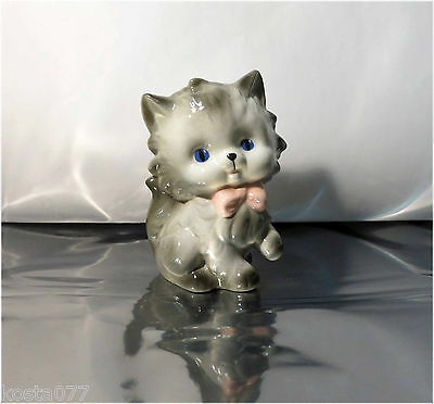 Vintage Ceramic Figurine, Gray Cat, Kitten w/ Blue Eyes, Pink Ribbon, 5 1/2""