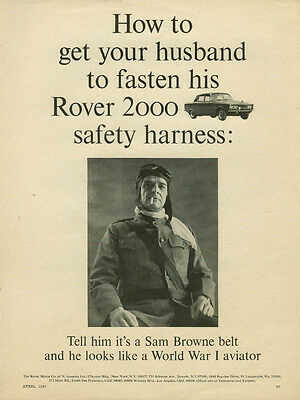 How to get your husband to fasten his Rover 2000 safety harness ad 1967