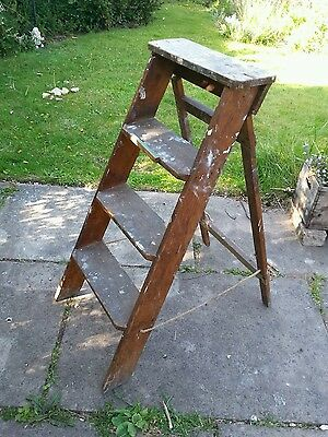 Small Vintage Wooden Step Ladder ....shabby Chic...display...diy
