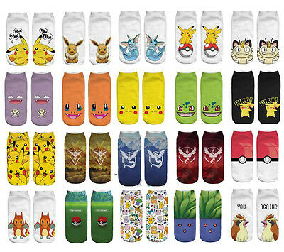 US Pokemon Go Pikachu Cute Character Pocket Monsters Women Girls Unsex Socks