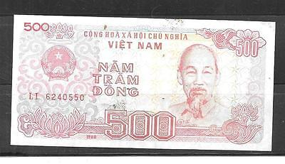 VIETNAM #101a 1988 VF CIRC OLD 500 DONG BANKNOTE BILL paper money CURRENCY