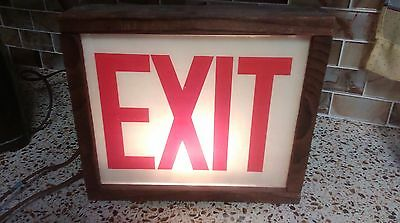 """Vintage EXIT Sign Red Painted on Glass in Pine? Wood Box BLINKS 11"""" X 9 1/2"""""""