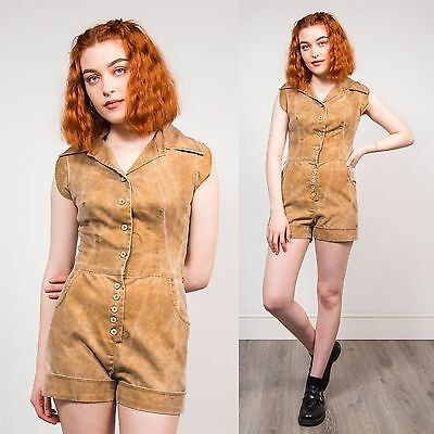 Womens 90's Vintage Brown Tan Faded Style Playsuit Summer Festival Boho 6 8