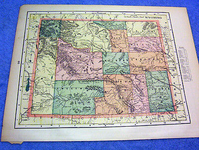 Antique Map Of Wyoming W/ Railroads,  Indian Reserves, Military Reserves   1894