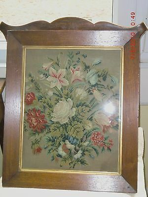 Magnificent  Antique /Needlepoint/Tapestry Picture STILL LIFE IN ROSEWOOD FRAME.