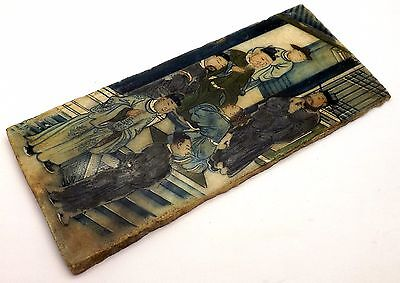 Scarce 17Th Or 18Th Century Chinese Court Scene Hand Painted On Marble Panel