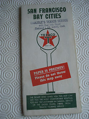 Vintage 1940s San Francisco Bay Cities Texaco map