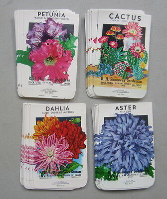Lot of  100 Old Vintage - FLOWER SEED PACKETS - Dahlia Aster Petunia Cactus