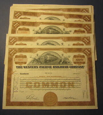 Wholesale Lot of 25 - WESTERN PACIFIC RAILROAD - Stock Certificates - 100 shares