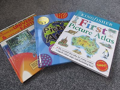 Three children's reference books - atlas, planet, universe, maps