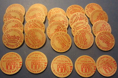 Lot of 25 Old Vintage SAMBO'S Restaurant WOODEN NICKELS - Coffee - Whittier CA.