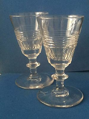 A Pair Of Small Victorian Glasses Cut Bowl