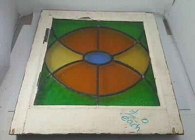 """Antique STAINED GLASS WINDOW Abstract Beveled 16"""" x 16"""" in Wood Frame Colorful"""