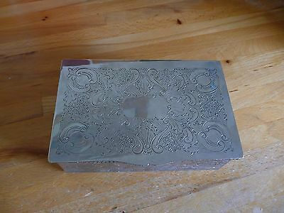 Vintage Silver Plated On Copper Ornate Wood Lined Box