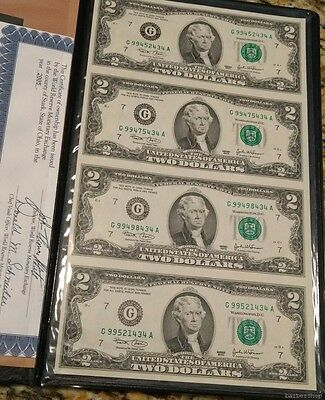UNCUT SHEET of 4 series 2003 $2 Federal Reserve Notes in black folder. Chicago