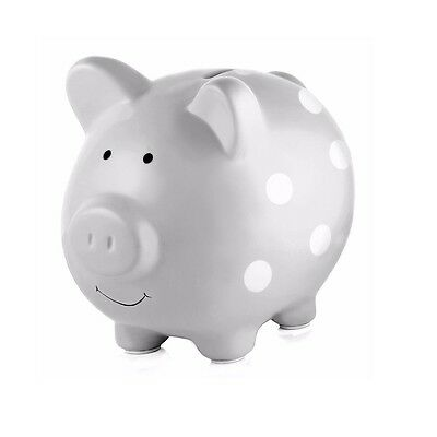 Pearhead Ceramic Piggy Bank - Polka Dot Grey