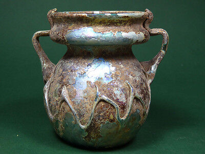 ANCIENT IRIDESCENT GLASS JAR ROMAN 2nd-4th CENTURY AD