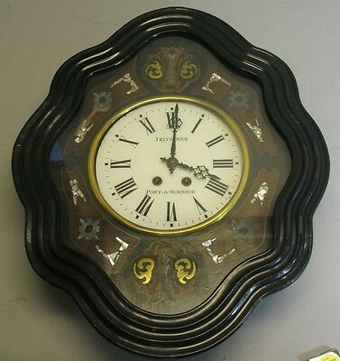 Fine French Napoleon III Ebonized & Mother of Pearl Clock  c. 1870  Antique