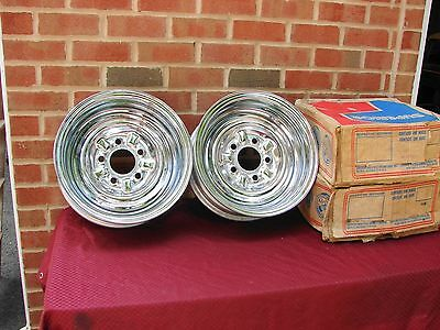 Vintage Nos Superior Chrome Reverse Wheels 14 X 6 With 5 Bolt & 5 Inch  B..5X5