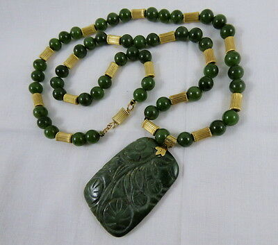 "Chinese 14K Gold Carved Jade Bead Pendant Necklace 28"" Long 14K Bale Clasp Beads"