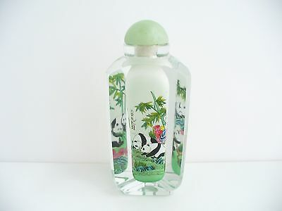 Chinese Triangular Shaped Glass Panda Design Hand Painted Centre Snuff Bottle