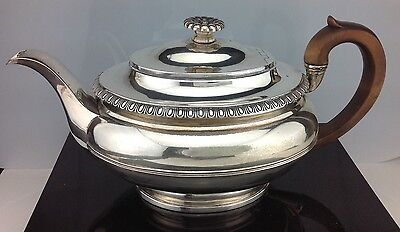 Antique English Sterling Silver Teapot London 1822 Benjamin Smith Wood Handle