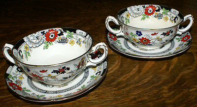 TWO Coalport England Canton Pattern Cream Soup Bowls with Under Plates * EUC