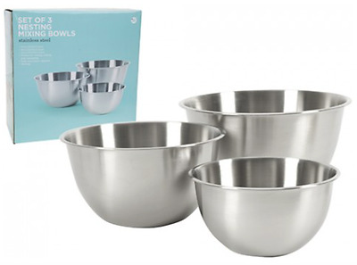 Ethos Set of 3 Mixing Bowls Stainless Steel Metal Bowl Set