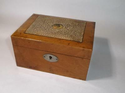 Antique Wooden Jewellery trinket box with Embossed Valentine Card on top