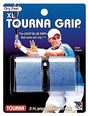 Unique Tourna Tennis Racquet XL Over Grip Nonslip Absorbent Dry Feel Blue 2-Pack