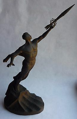 Extremely RARE Russian Soviet Space GAGARIN & Rocket cast iron statue sculpture