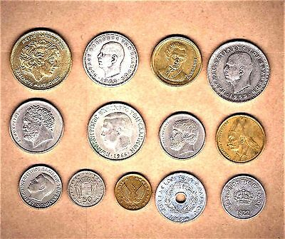 Greece,13 quality coins w/ Alexander the Great + 1960 20 Drachmai silver coin