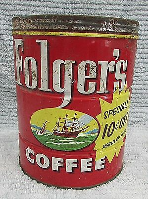 Old 1952 Empty Folgers 2 lb Coffee Can Vintage Ship Logo Mountain Grown FREE S/H