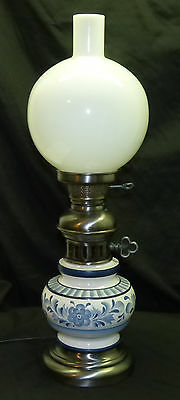 """Vintage Delft Blue Floral 24"""" GWTW Gone with Wind Table Lamp Pewter Finish"""